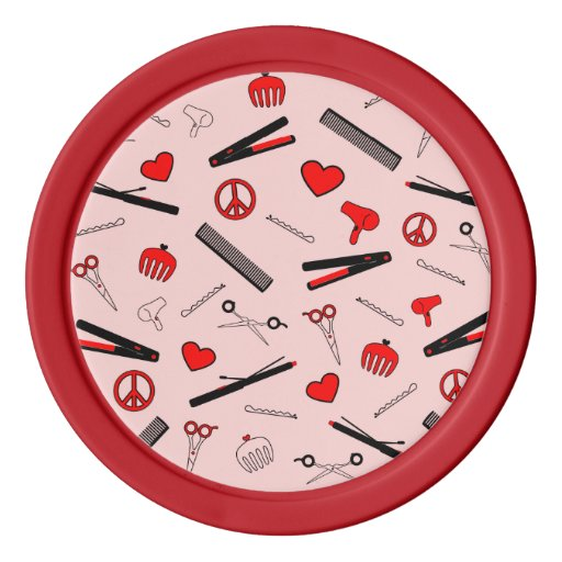 Peace, Love, & Hair Accessories (Red) Poker Chips Set