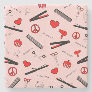 Peace, Love, & Hair Accessories (Red) Stone Coaster