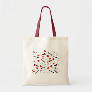 Peace, Love, & Hair Accessories (Red) Tote Bag