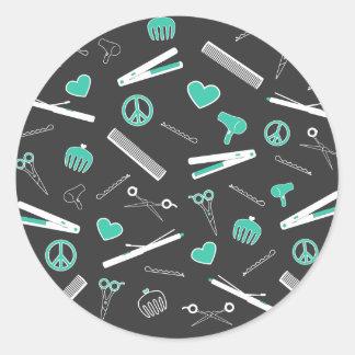 Peace, Love, & Hair Accessories (Turquoise Dark) Classic Round Sticker