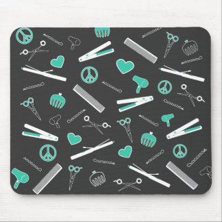 Peace, Love, & Hair Accessories (Turquoise Dark) Mouse Pad