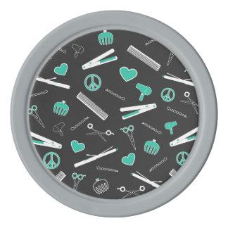 Peace, Love, & Hair Accessories (Turquoise Dark) Poker Chip Set