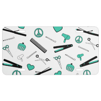 Peace, Love, & Hair Accessories (Turquoise) License Plate