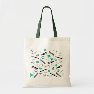 Peace, Love, & Hair Accessories (Turquoise) Tote Bag