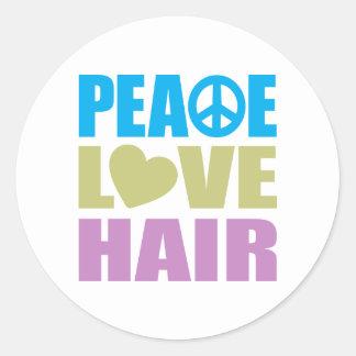 Peace Love Hair Classic Round Sticker