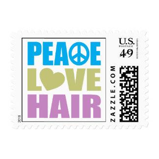 Peace Love Hair Postage Stamp