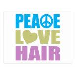 Peace Love Hair Postcard