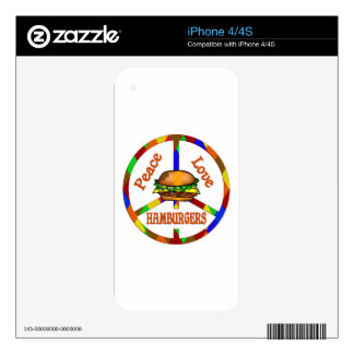 Peace Love Hamburgers Decals For iPhone 4S