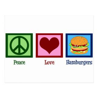 Peace Love Hamburgers Post Cards