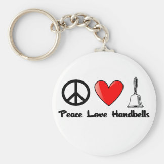 Peace, Love, Handbells Basic Round Button Keychain