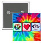 Peace, Love, Hanukkah 2 Inch Square Button