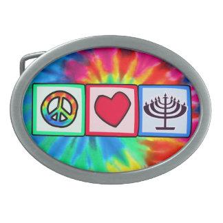 Peace, Love, Hanukkah Oval Belt Buckle