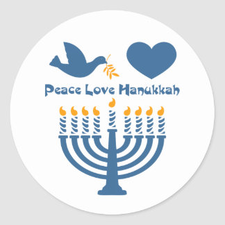 Peace Love Hanukkah Classic Round Sticker