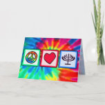 "Peace, Love, Hanukkah Holiday Card<br><div class=""desc"">You will love this groovy tie dye peace, love, Jewish Hanukkah Menorah design. Great for gifts! Available on tee shirts, smart phone cases, mousepads, keychains, posters, cards, electronic covers, computer laptop / notebook sleeves, caps, mugs, and more! Visit our site for a custom gift case for Samsung Galaxy S3, iphone...</div>"