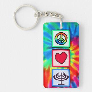 Peace, Love, Hanukkah Single-Sided Rectangular Acrylic Keychain