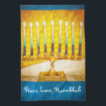 """""""Peace, Love, Hanukkah"""" Yellow Gold Menorah Photo Kitchen Towel<br><div class=""""desc"""">""""Peace, love, Hanukkah."""" A close-up photo of a bright, colorful, yellow and gold artsy menorah helps you usher in the holiday of Hanukkah in style. Feel the warmth and joy of the holiday season whenever you use this bright, colorful Hanukkah kitchen towel. Matching cards, postage, stickers, pillows, housewares, totebags, and...</div>"""