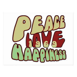 Peace Love Happiness 1969 Postcard