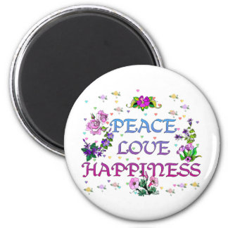 Peace Love Happiness 2 Inch Round Magnet