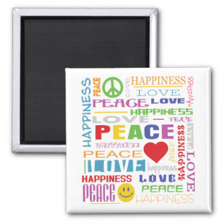 Peace Love Happiness 2 Inch Square Magnet