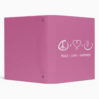 Peace + Love = Happiness 3 Ring Binder
