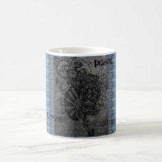 peace love happiness and coffee coffee mug