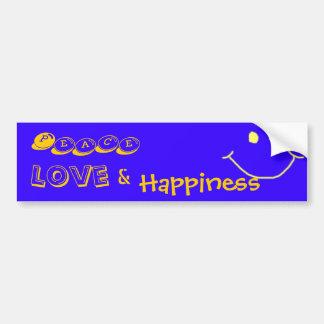 Peace, Love, &, Happiness Bumber Sticker Bumper Sticker