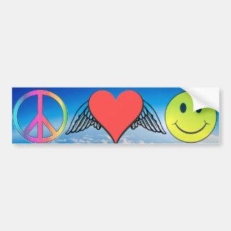 Peace, Love, Happiness Bumper Sticker