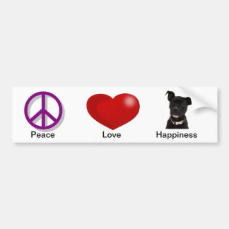 Peace Love Happiness Car Bumper Sticker