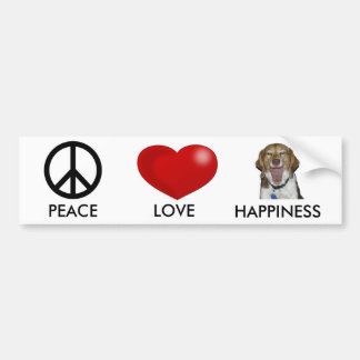 PEACE, LOVE HAPPINESS BUMPER STICKERS