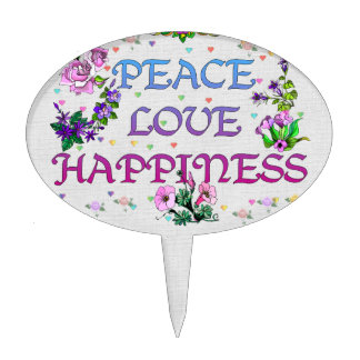 Peace Love Happiness Cake Topper