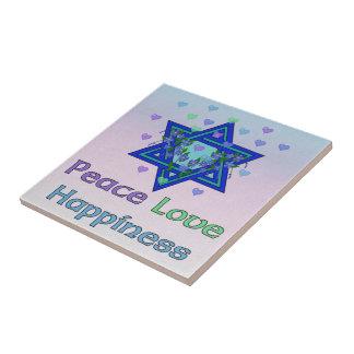 Peace Love Happiness Ceramic Tile