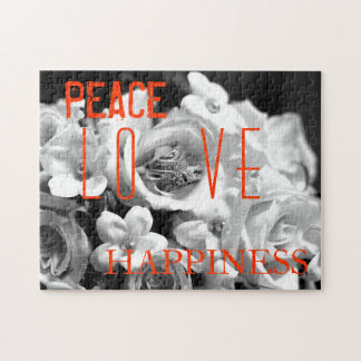 Peace, Love & Happiness Floral Puzzle