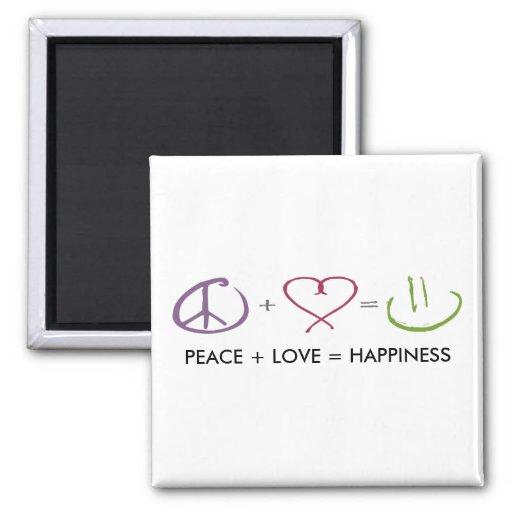 Peace + Love = Happiness Fridge Magnets