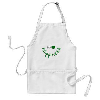 Peace Love Happiness (green edition) Adult Apron