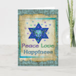 """Peace Love Happiness Holiday Card<br><div class=""""desc"""">Hearts,  Star of David,  and the words """"Peace Love Happiness"""" are a lovely way to say Happy Hanukkah.</div>"""