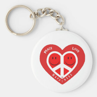 Peace Love & Happiness II Basic Round Button Keychain