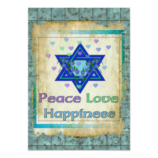 "Peace Love Happiness 5"" X 7"" Invitation Card"