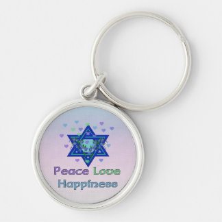 Peace Love Happiness Silver-Colored Round Keychain