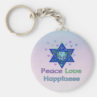 Peace Love Happiness Basic Round Button Keychain