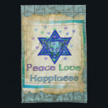 "Peace Love Happiness Kitchen Towel<br><div class=""desc"">Hearts,  Star of David,  and the words &quot;Peace Love Happiness&quot; are a lovely way to say Happy Hanukkah.</div>"