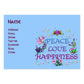 Peace Love Happiness Large Business Card
