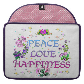 Peace Love Happiness Sleeves For MacBook Pro