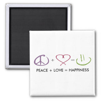 Peace + Love = Happiness Magnet