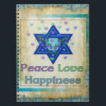 "Peace Love Happiness Notebook<br><div class=""desc"">Hearts,  Star of David,  and the words ""Peace Love Happiness"" are a lovely way to say Happy Hanukkah.</div>"