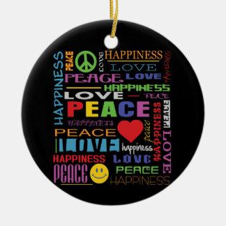 Peace Love Happiness Christmas Tree Ornament