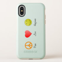peace, love, Happiness OtterBox Symmetry iPhone X Case