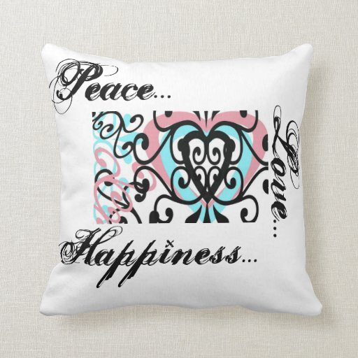 Peace Love Happiness Pillow