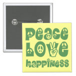 peace love happiness pinback button