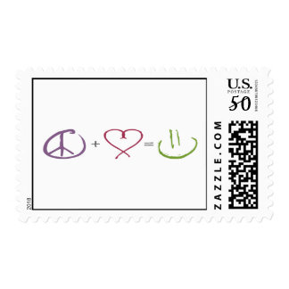 Peace + Love = Happiness Postage