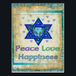 "Peace Love Happiness Postcard<br><div class=""desc"">Hearts,  Star of David,  and the words ""Peace Love Happiness"" are a lovely way to say Happy Hanukkah.</div>"